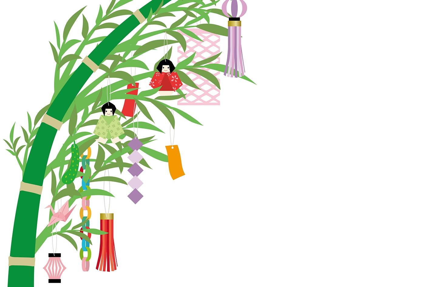 笹に飾られた短冊のイラスト